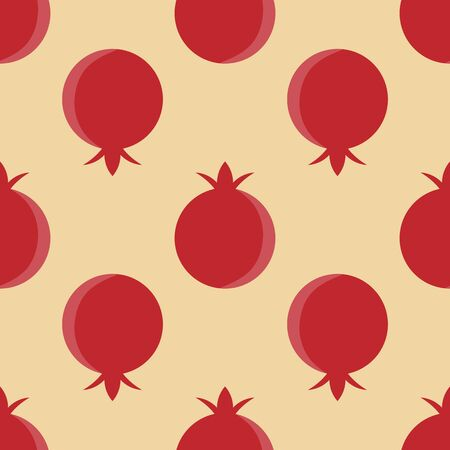 Seamless whole pomegranate pattern. Vector fruit background. Illustration