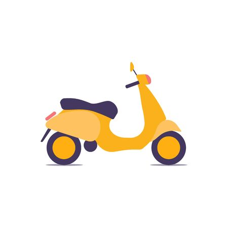 Colorful vintage scooter, vector illustration, urban life, ride a motorbike in the city