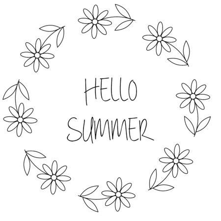 Couronne florale avec des fleurs de camomille ou de marguerite. Bonjour carte d'été en vecteur sur fond blanc Vecteurs