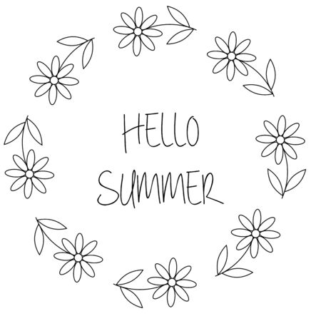 Floral wreath with chamomile or daisy flowers. Hello summer card in vector on white background Vektorové ilustrace