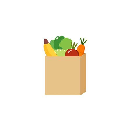 A paper bag full of vegetables abd fruits purchased, vector Stock Illustratie