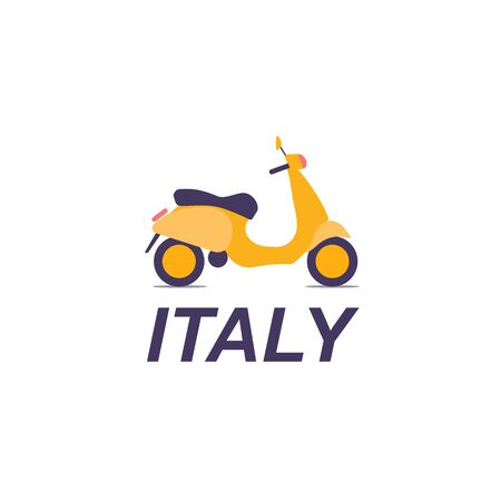 cute colorful pastel scooter transport vintagewith italy text inscription on white background