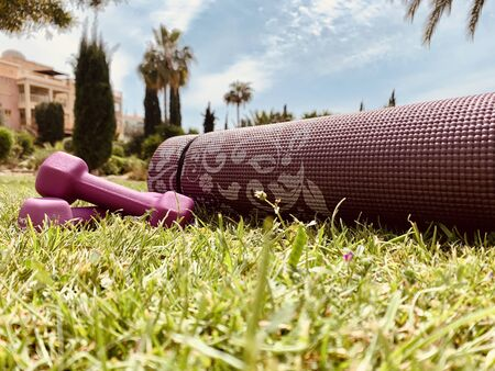 Close-up of pink dumbbells kept on a pink exercise mat in the garden or park Stok Fotoğraf