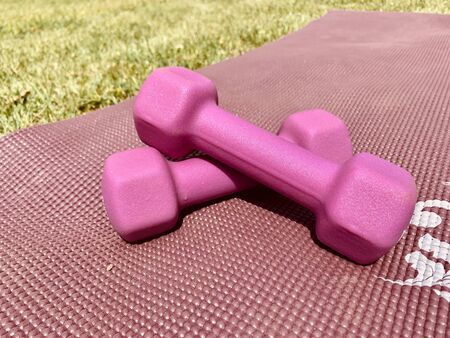 Close-up of pink dumbbells kept on a pink exercise mat in the garden or park