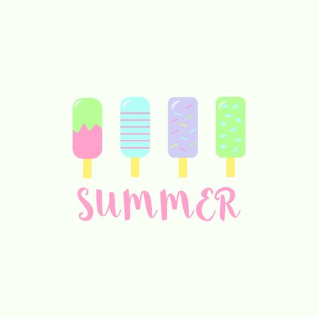 Set of ice cream or frozen juice on sticks of different flavors with summer text