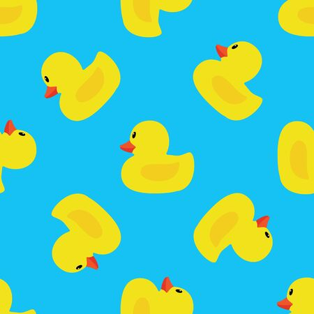 Swimming yellow Little Duck seamless pattern with blue background Ilustración de vector
