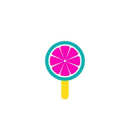 Sweet lollipop, round citrus sugar candy on plastic stick vector Illustration Ilustração