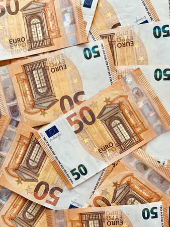 Pile of 50 euro banknotes business finance background Foto de archivo