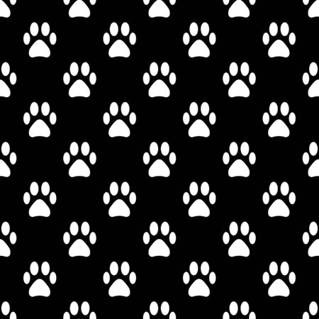 Seamless animal pattern of paw footprint white and black