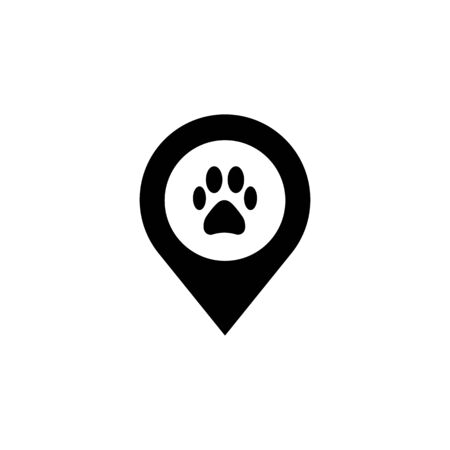 Dog paw map point sign, vector illustration. Pet here map pointer