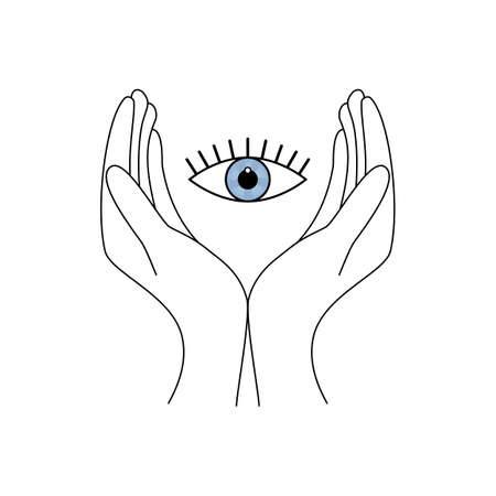 two hands take care of the eye icon protecting vector illustration on white