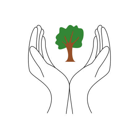 Vector icon of an open hand with a tree on it. A symbol of hope to keep protecting trees and plants. Illustration