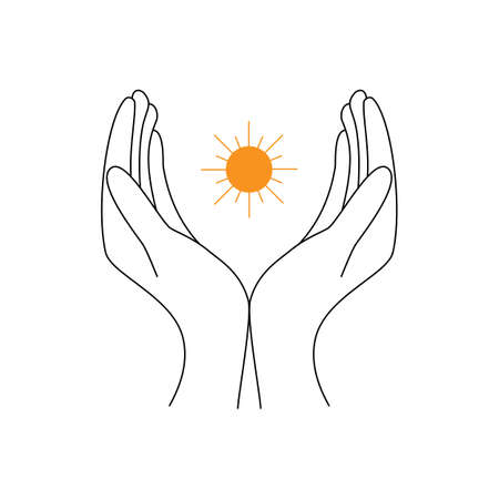 silhouette of two opened hands with sun between them