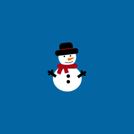 Snowy snowman. Festive and Christmas greeting card. Flat design on blue background