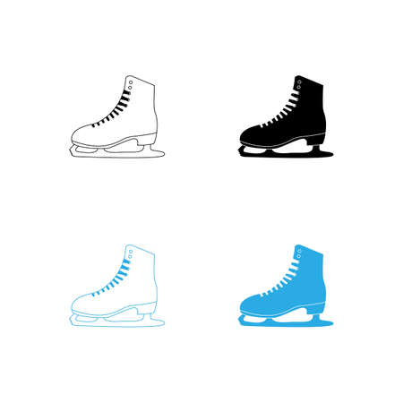 winter sports ice skating shoes vector illustration flat design Vettoriali
