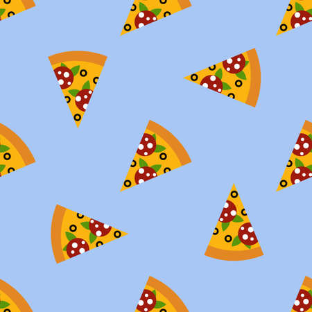 Pizza slice cute seamless pattern on blue background, perfect for packaging, restaurant and cafe menu, valentine card and much more