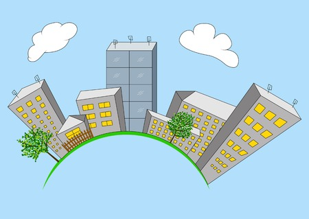 city building: Cartoon city on global. City building planet. Illustration