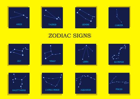 zodiacal symbol: Zodiac signs. Horoscope set Aries, Taurus, Gemini, Cancer, Leo, Virgo, Libra, Scorpius, Sagittarius, Capricornus, Aquarius, Pisces. Vector illustration