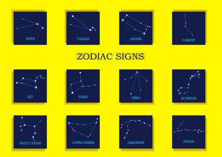 capricornus: Zodiac signs. Horoscope set Aries, Taurus, Gemini, Cancer, Leo, Virgo, Libra, Scorpius, Sagittarius, Capricornus, Aquarius, Pisces. Vector illustration