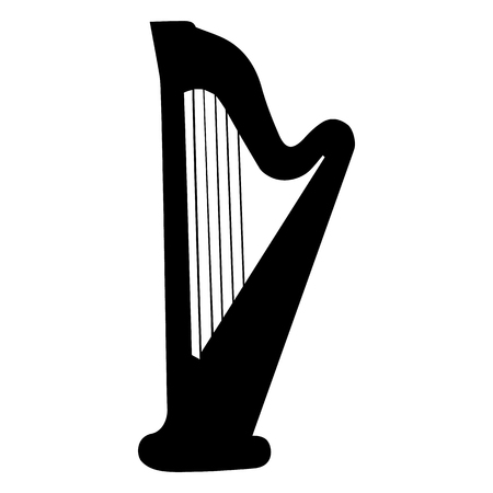 Harp. Silhouette. Musical instrument on white background. Vector eps8
