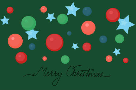Hand written Merry Christmas with colorful bubbles and stars. Green background. 矢量图像