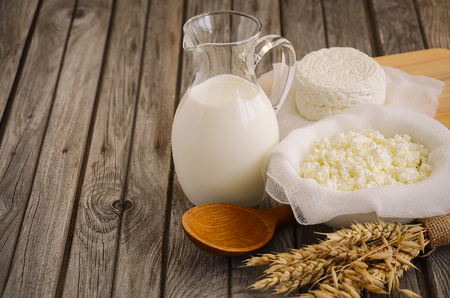 epicure: Fresh dairy products. Milk and cottage cheese with wheat on the rustic wooden background.