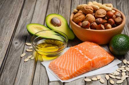 fat food: Selection of healthy fat sources.