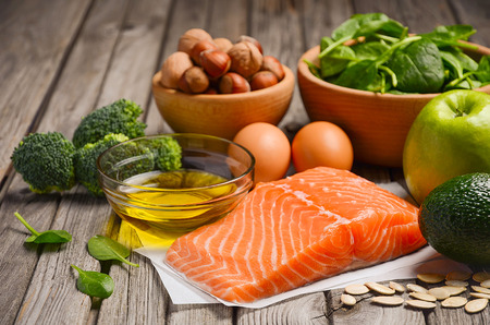 good cholesterol: Selection of healthy products. Balanced diet concept. Stock Photo
