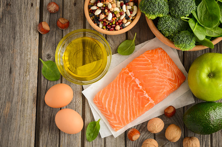 fat food: Selection of healthy products. Balanced diet concept. Stock Photo