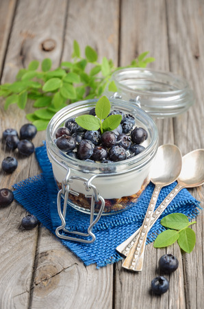 Yogurt parfait with granola and fresh blueberries, healthy breakfast concept, selective focus Stock Photo