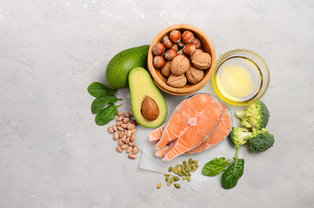 Selection of healthy food for heart, life concept, top view, flat lay, copy space. Banque d'images
