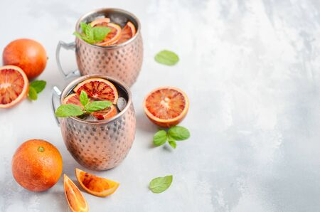 Moscow mule alcohol cocktail 免版税图像
