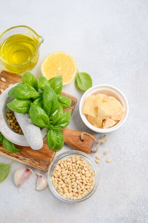 Ingredients for making green pesto sauce Top view Flat lay Stock Photo