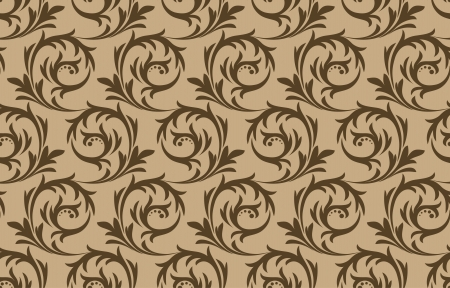 Seamless brown pattern on a beige background Vector