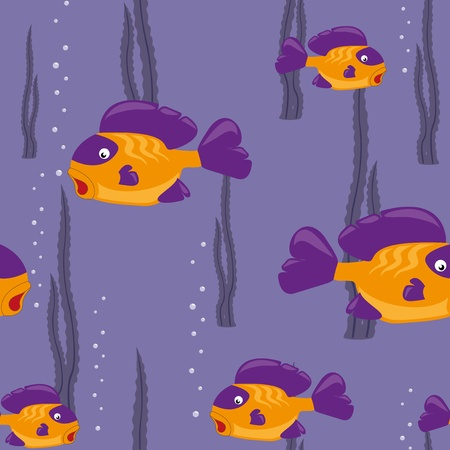 funny yellow fish swims in the sea Vector