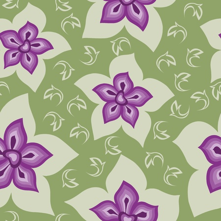 Seamless purple flowers on a green background Vector