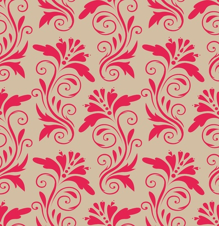 brocade: beautiful pink pattern on a beige background