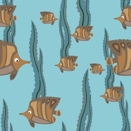 funny brown fish swims in the sea Vector