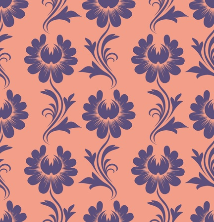 seamless pattern - blue flowers on peach background Vector