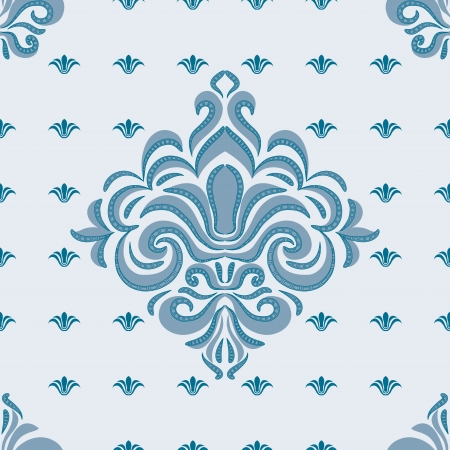 brocade: seamless pattern - patterns on a blue background Illustration