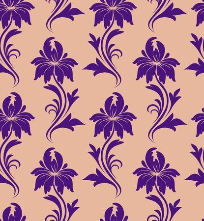 brocade: seamless pattern - purple flowers on a beige background