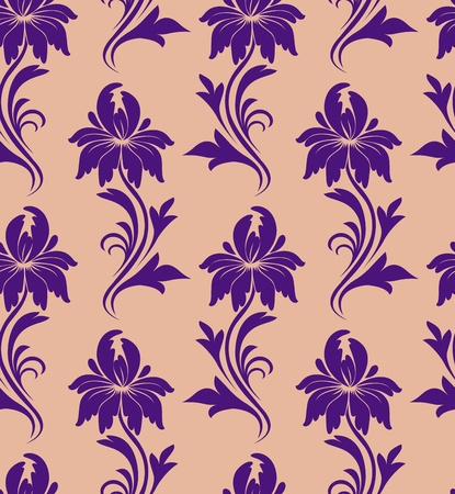 seamless pattern - purple flowers on a beige background Stock Vector - 9805135