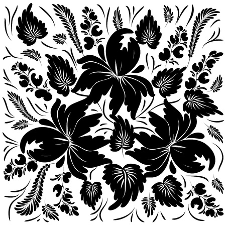 rich black wallpaper: Black flowers on a white background - in the style of hand-painted