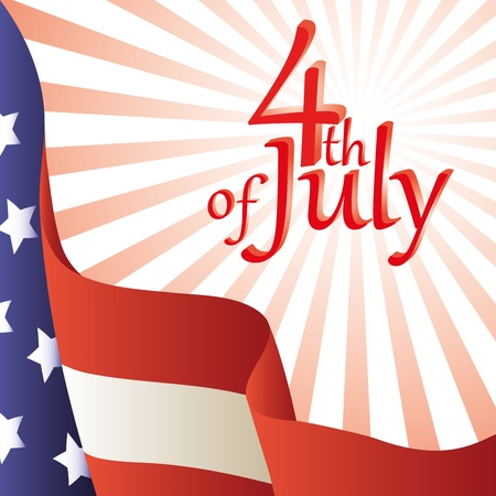 july 4th: Vector illustration - Happy 4th of July. American flag. Background.