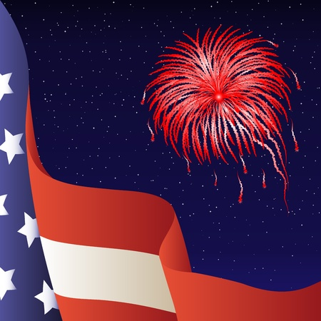 Vector illustration - Happy 4th of July. American flag, firework. Background. Stock Vector - 9865618