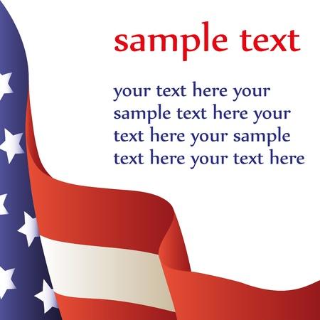 bandera americana: Ilustraci�n vectorial - bandera estadounidense sobre un fondo blanco