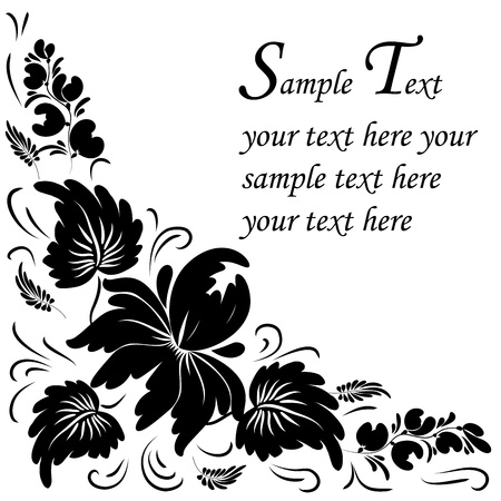 Black flowers on a white background - in the style of hand-painted. Basic elements are grouped. Stock Vector - 9933541