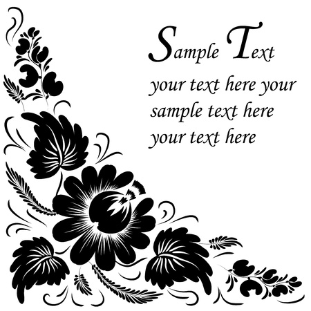 rococo style: Black flowers on a white background - in the style of hand-painted. Basic elements are grouped.