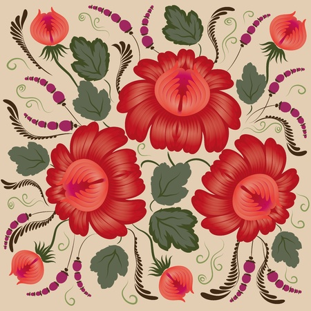 rococo: Red flowers on a beige background - in the style of hand-painted. Floral design. Basic elements are grouped.