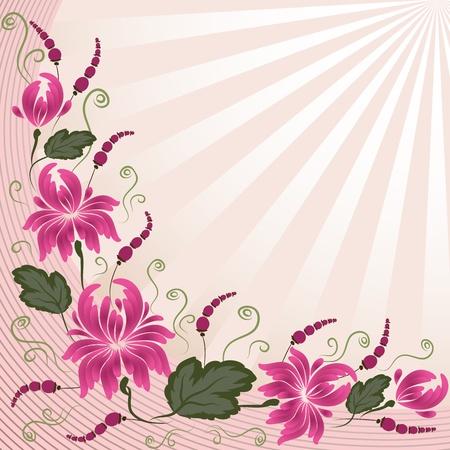 Rosa Blüten auf einem Beige Hintergrund - im Stil von Hand bemalt. Blumenmuster. Grundlegende Elemente gruppiert sind. Vektorgrafik